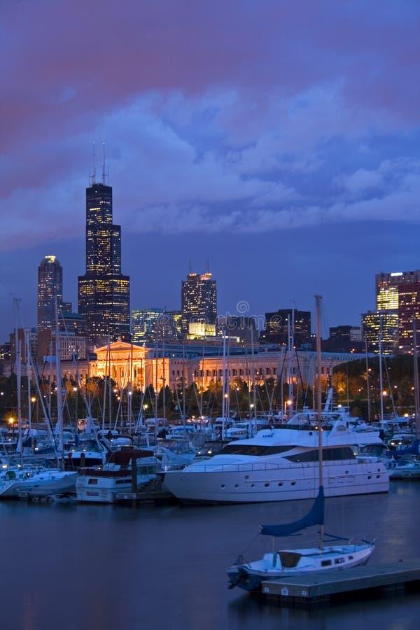 Chicago céntrica del puerto deportivo foto de archivo