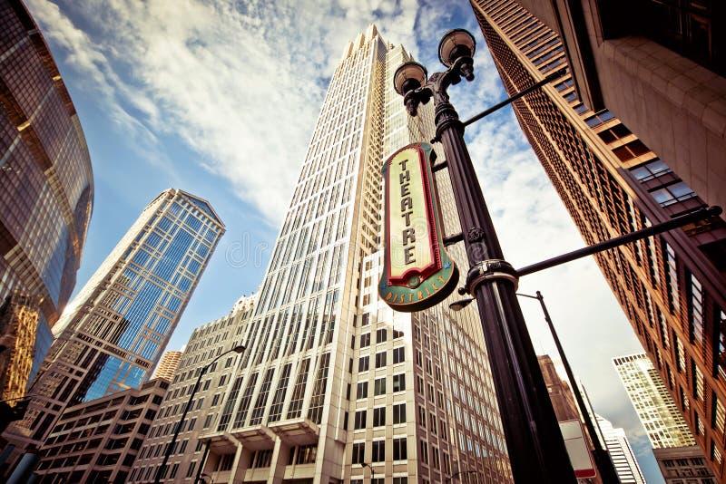 Chicago céntrica en el districto del teatro fotos de archivo libres de regalías