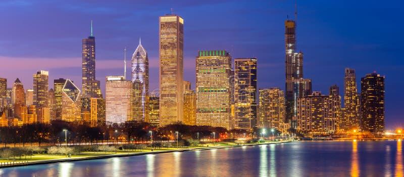 Chicago centrum och Lake Michigan panorama royaltyfri fotografi