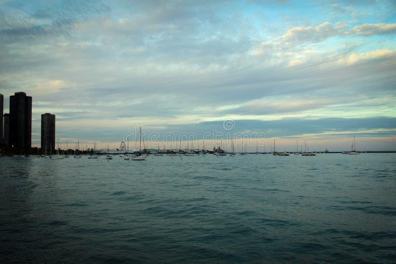 Chicago centrum och Michigan sjöpanoramautsikt, Illinois, USA fotografering för bildbyråer