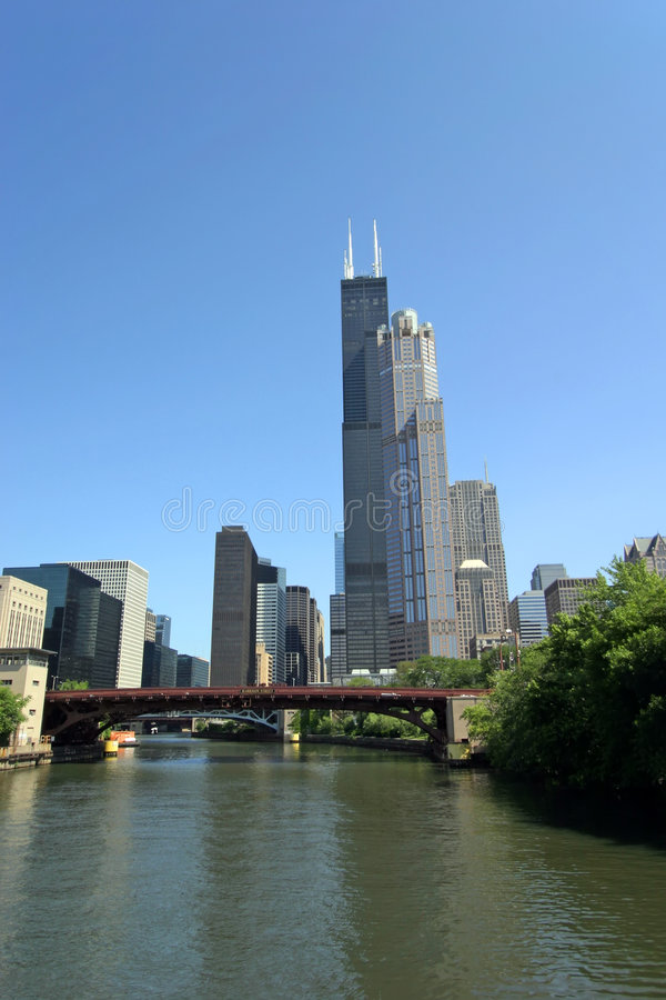 Chicago and Chicago River royalty free stock images