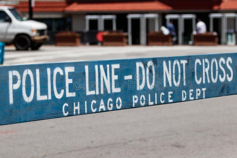 POLICE LINE DO NOT CROSS sign courtesy of the Chicago Police Department I. Chicago - Circa June 2019: POLICE LINE DO NOT CROSS sign courtesy of the Chicago stock images