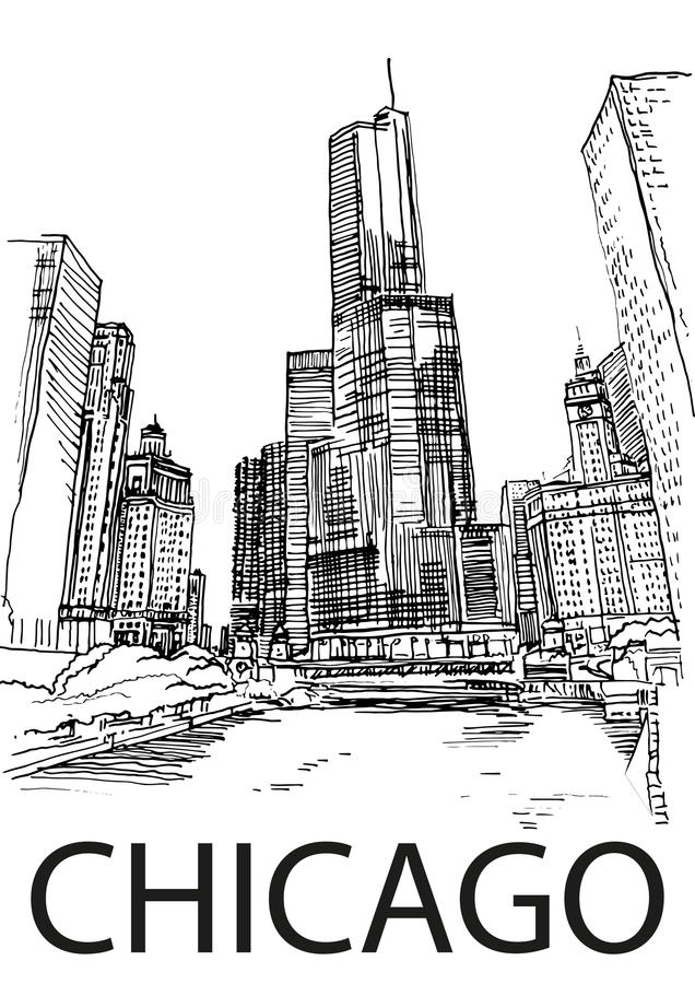 Download Chicago City Centre, Illinois, USA. Hand Drawn Sketch Stock Vector - Image: 61677059