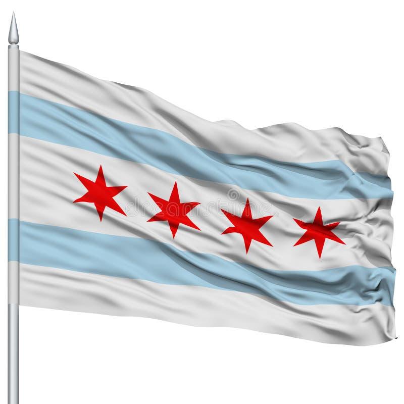 Chicago City Flag on Flagpole, USA stock illustration