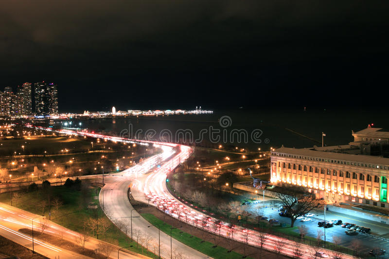 Chicago city highway at night stock photography