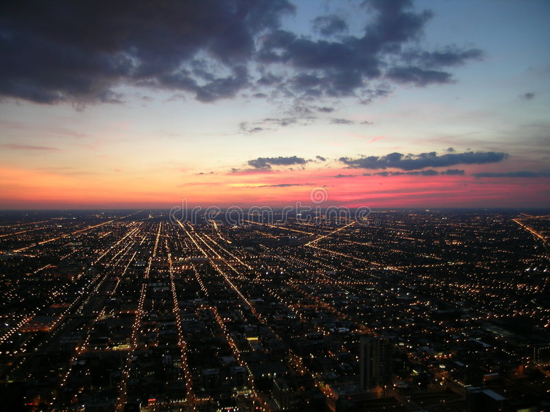 Chicago city lights and sunset stock photo