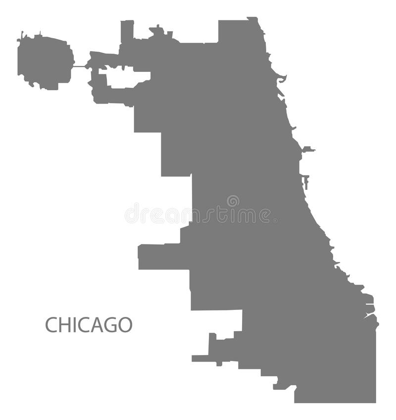 Chicago city map grey illustration silhouette Chicago