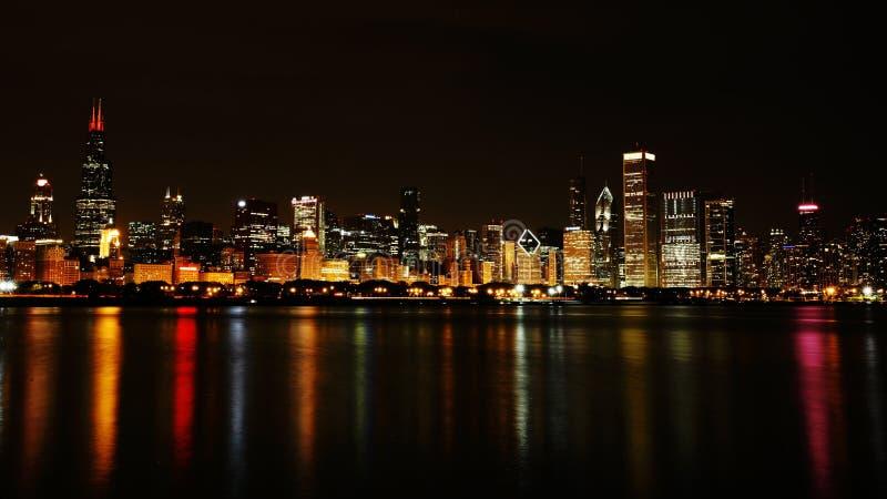 Chicago City Night Skyline Stock Photo