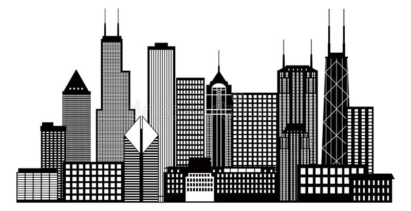 Chicago City Skyline Black and White Vector Illustration. Chicago City Skyline Panorama Black Outline Silhouette Isolated on White Background Vector Illustration stock illustration