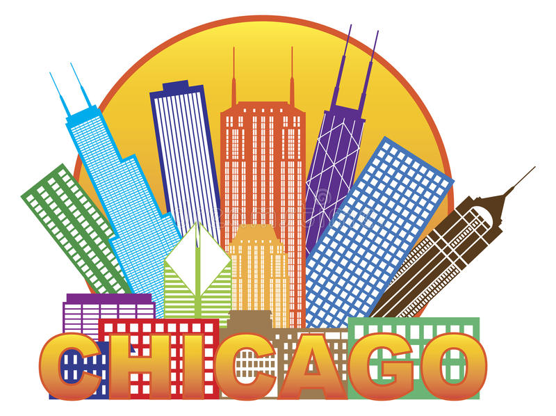 Chicago City Skyline Color in Circle Vector Illustration. Chicago City Skyline Panorama Color Outline Silhouette in Circle with Text Isolated on White Background royalty free illustration