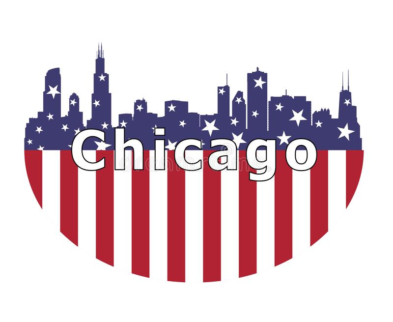 Chicago City And USA Flag royalty free illustration