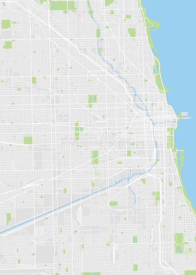 Chicago coloriu o mapa do vetor ilustração stock