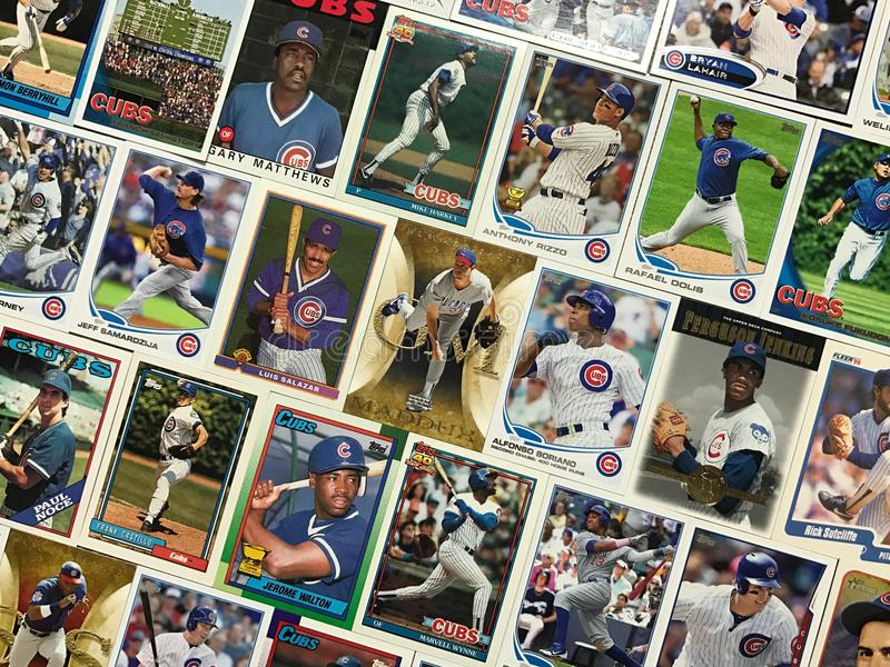 Chicago Cubs baseball trading card collage.  stock photography