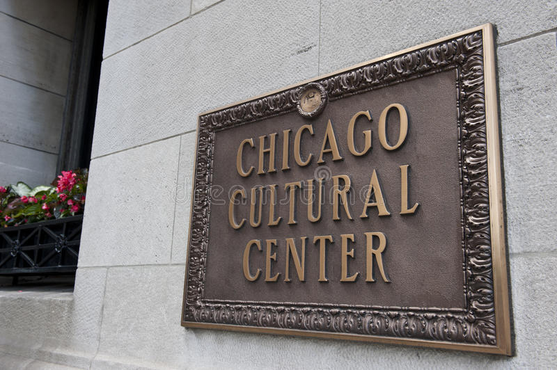 Chicago Cultural Center. Board mentioning Chicago Cultural Center building in Chicago. Chicago Cultural Center was built in 1897 and now houses, diplomatic and royalty free stock photo