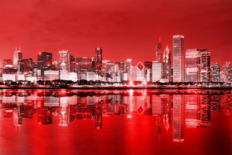Chicago da baixa em dezembro imagem de stock