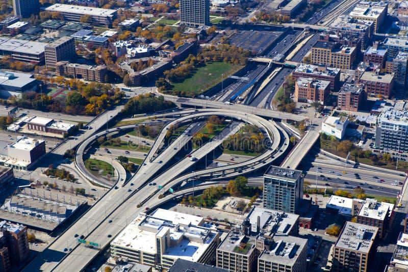 Chicago da baixa (vista aérea) imagens de stock royalty free