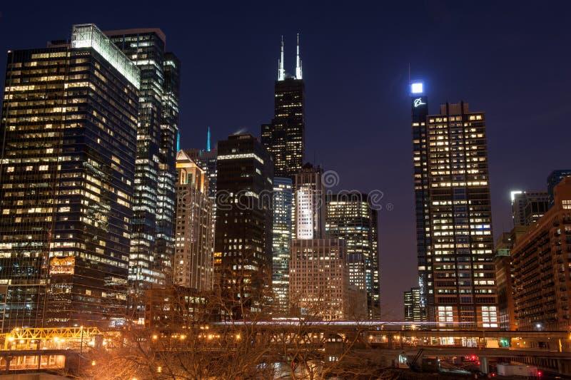 Opinión de la noche de Chicago fotografía de archivo libre de regalías
