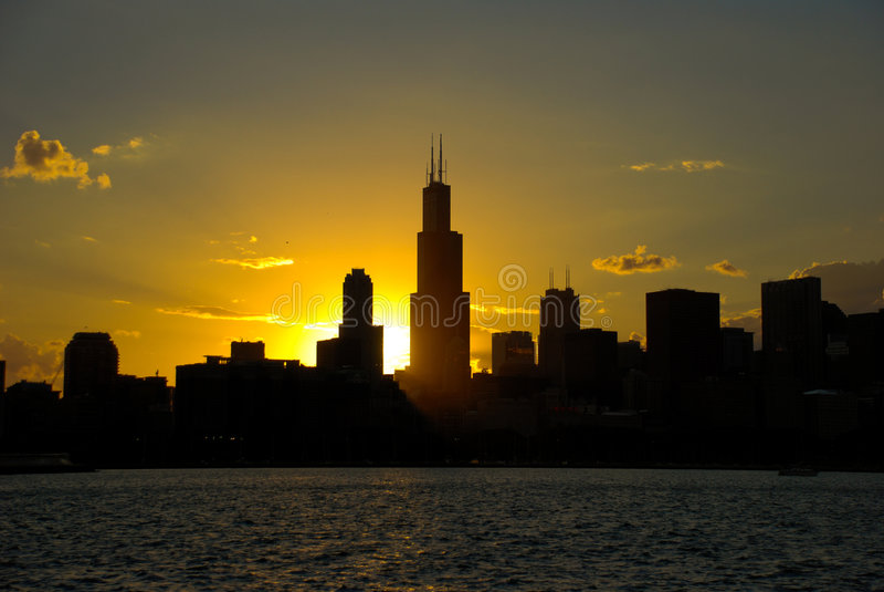 Chicago de stad in royalty-vrije stock foto's