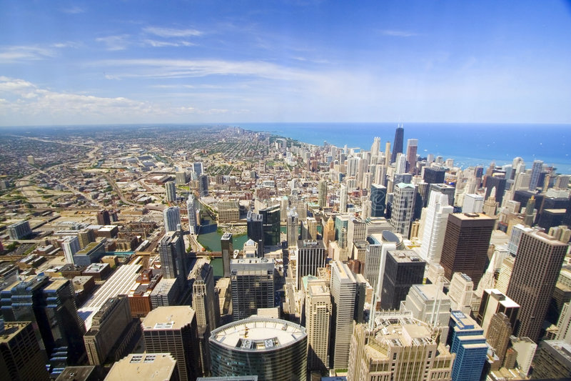 Chicago de stad in royalty-vrije stock foto
