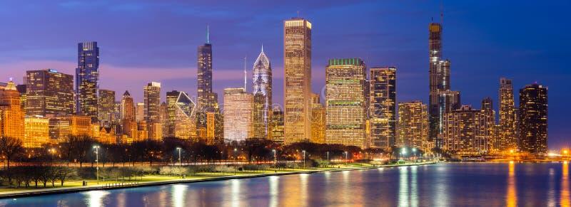 Chicago de stad in en het Panorama van Meermichigan royalty-vrije stock foto