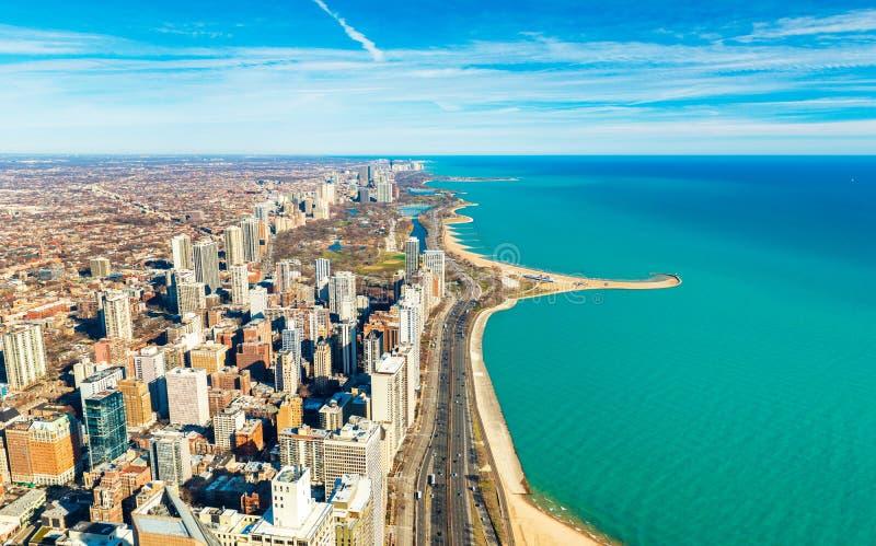 Chicago de stad in en de kustlijn van Meermichigan, de V.S. stock afbeelding