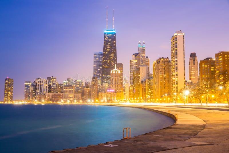Chicago de stad in en Meer Michigan royalty-vrije stock afbeeldingen