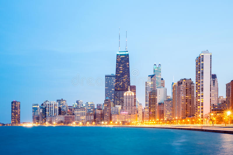 Chicago de stad in en Meer Michigan royalty-vrije stock afbeelding