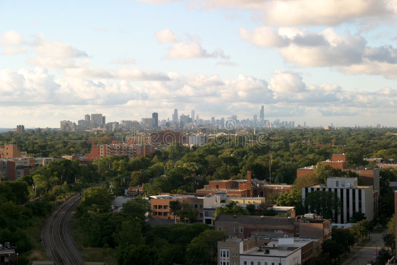 Chicago de stad in op de Horizon stock afbeelding