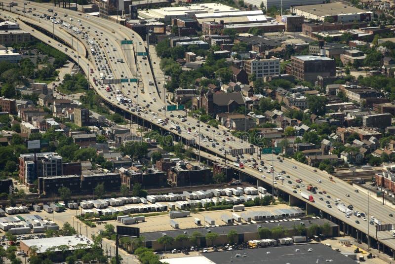 Chicago, de V.S. - 04 Juni, 2018: Hoogste mening over de stadsweg in CH stock afbeeldingen