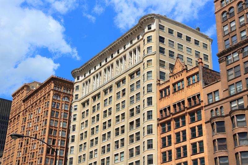 Chicago Dearborn Street. Chicago, Illinois USA. Old city architecture at Dearborn Street stock photos