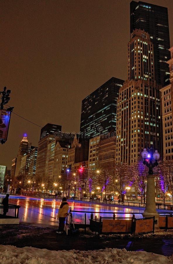 Chicago do centro durante o inverno em um dia aborrecido foto de stock royalty free