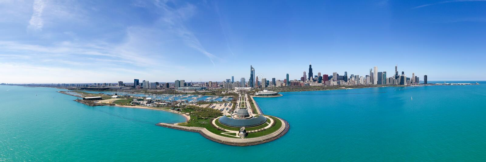 Chicago Skyline from Air View stock images