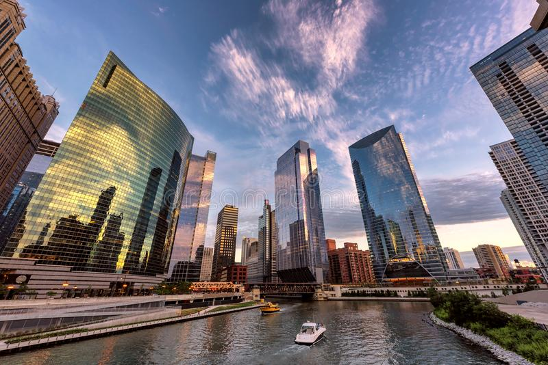 Chicago skyline at sunset. Chicago downtown and Chicago River with bridges during sunset stock photos