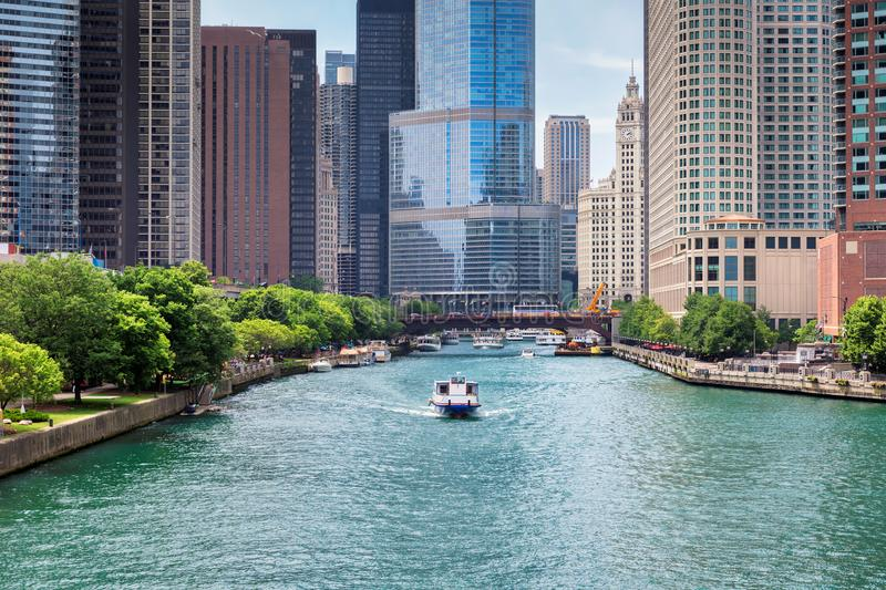 Chicago downtown and Chicago River at summertime. Chicago Skyline. Chicago downtown and Chicago River with bridges during sunny day stock images