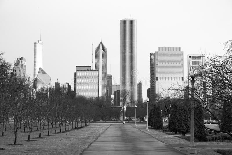 Chicago Downtown City Skyline Millennium Park Winter royalty free stock photography