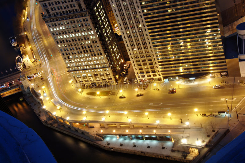 chicago downtown night στοκ φωτογραφία