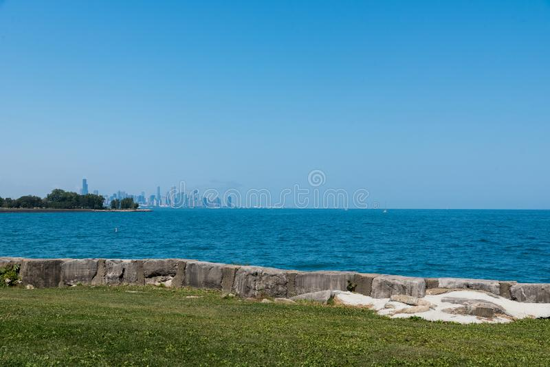 Chicago downtown skyline view from a south side stock images