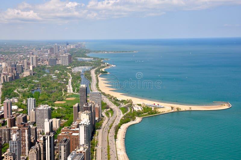 Chicago et lac Michigan photo libre de droits