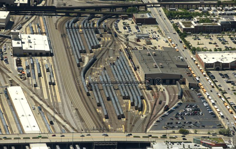 Chicago, Etats-Unis - 4 juin 2018 : Trains sur le chemin de fer Yard/M de BNSF photo libre de droits