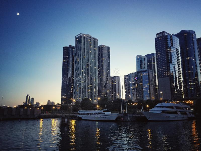 Chicago evening on lake stock photo