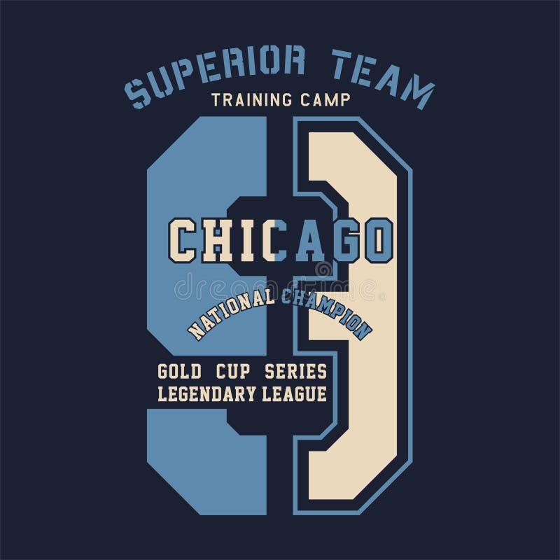 Chicago för överlägset lag nationell mästare stock illustrationer