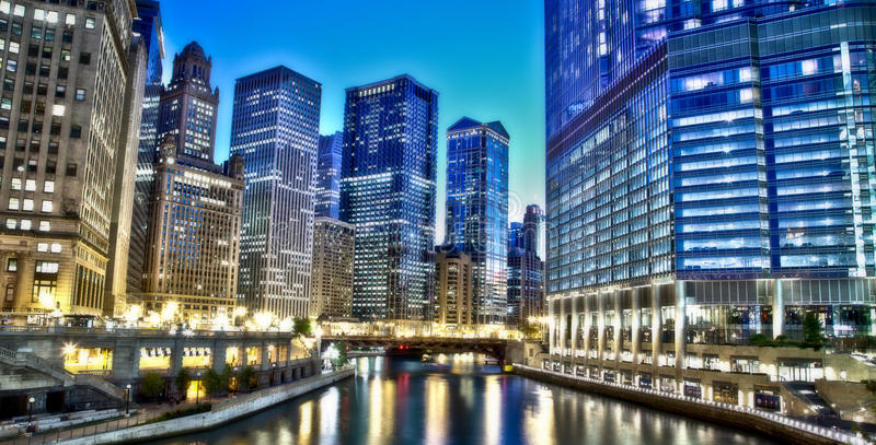 Chicago Financial District Stock Image. Image Of River