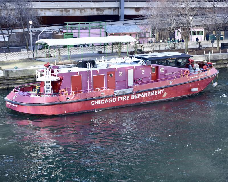 Chicago Fireboat. This is a Winter picture of the Chicago Fireboat the Christopher Wheatley on the Chicago River located in a Chicago, Illinois in Cook County stock photography