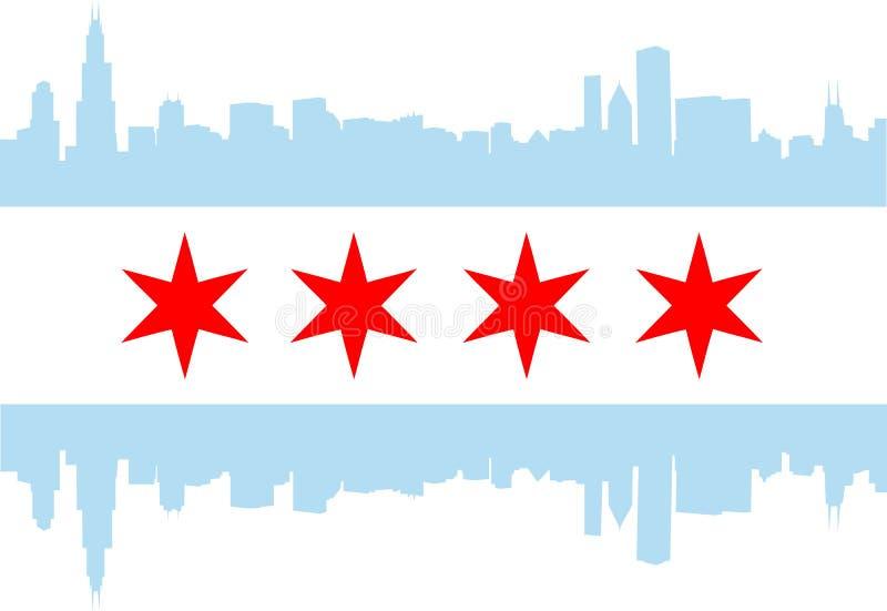 Chicago flagga stock illustrationer