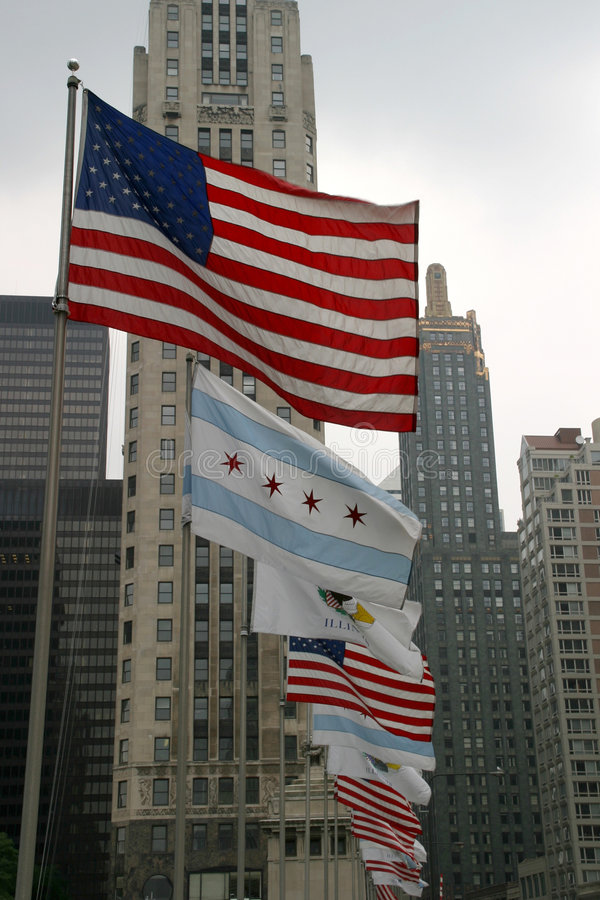 chicago flags illinois США стоковые фотографии rf