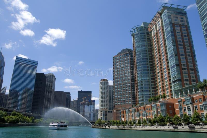 chicago flod royaltyfria bilder