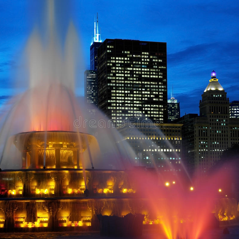 Chicago - fontaines de mémorial de Buckingham photographie stock