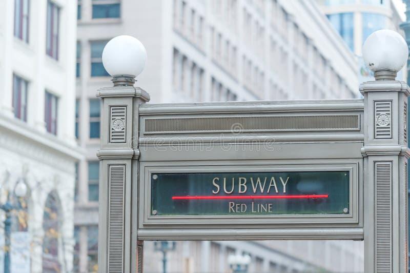 Chicago gångtunneltecken royaltyfri fotografi