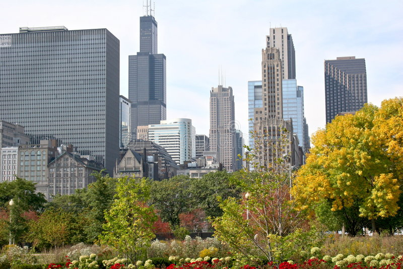 Chicago in the garden royalty free stock photos