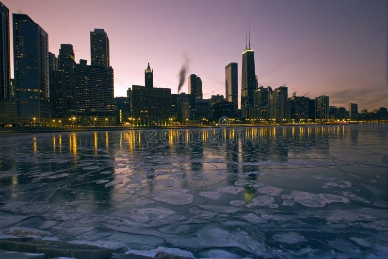 Chicago ghiacciato fotografia stock libera da diritti